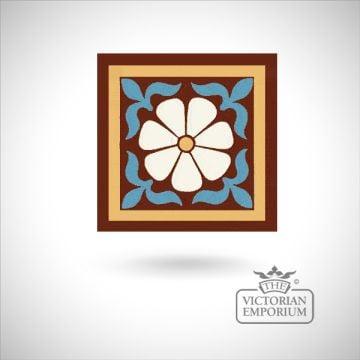 """Encaustic 6"""" square tile - design 46"""