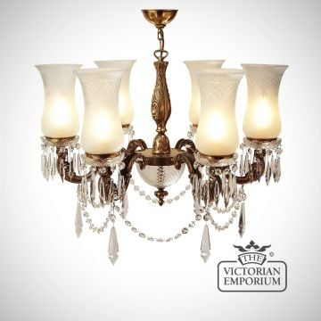 Chandelier with cut glass shades and 6 arms - medium