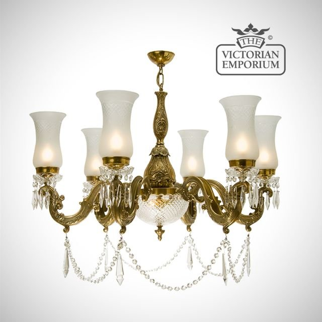 Chandelier with cut glass shades and 6 arms - large