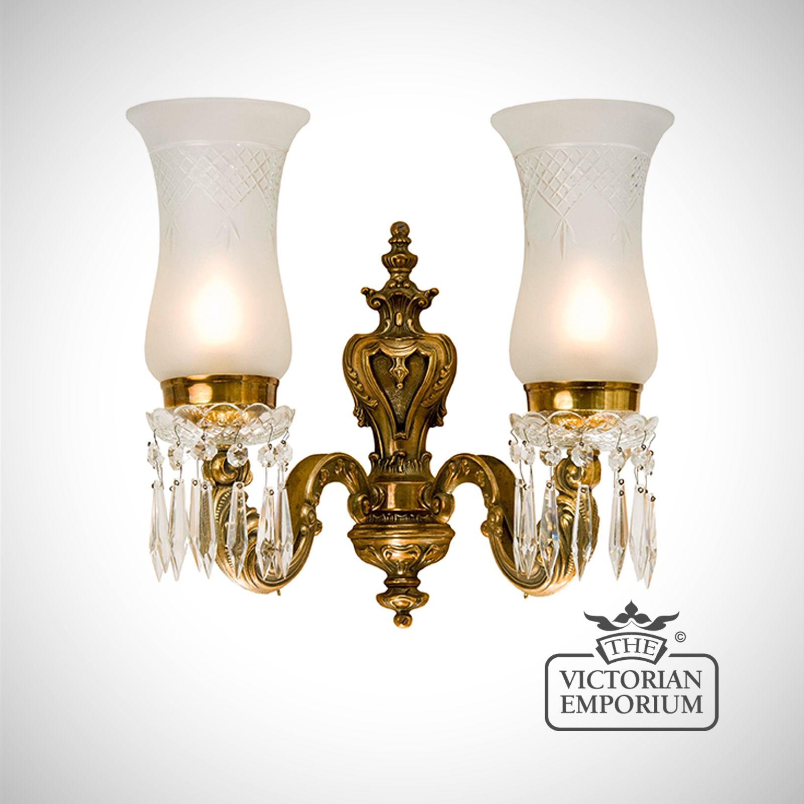 Wall Sconces Glass Shades : Double wall sconce with cut glass shades