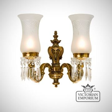 Double wall sconce with cut glass shades
