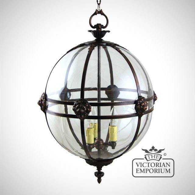 Victorian globe lantern with lion detail