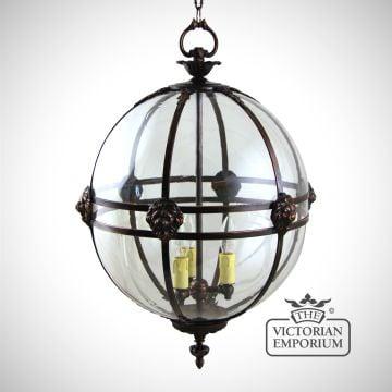 Victorian globe lantern with lion detail