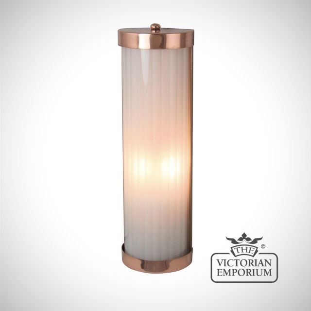 Reeded glass wall lights in a choice of finishes