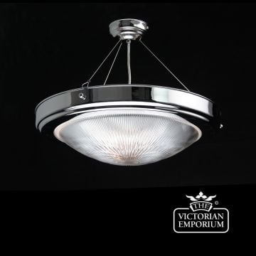 Prismatics semi-flush mount light in chrome