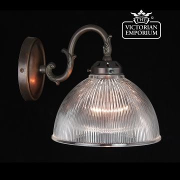 Reeded glass wall sconce in antique bronze
