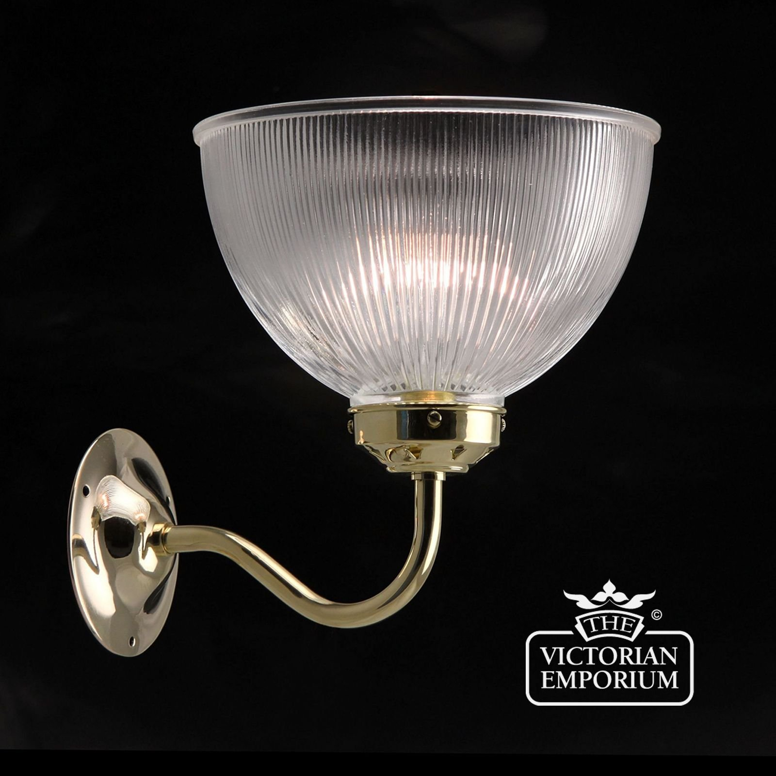 Traditional Silver Haematite Gate Post Lantern Or Driveway: Reeded Glass Wall Uplight In Polished Brass