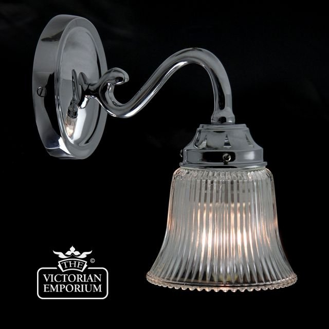 Reeded glass wall sconce in chrome