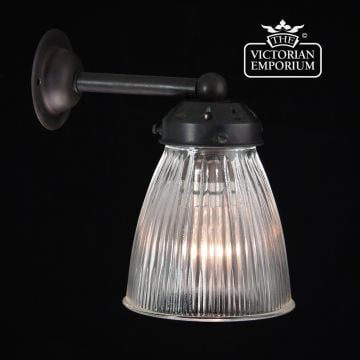 Small reeded glass wall sconce in antique bronze