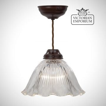 Frilled reeded glass ceiling light in antique bronze