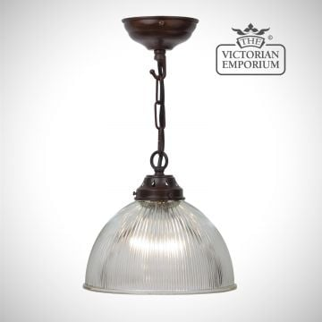 Small frilled reeded glass ceiling light in antique bronze