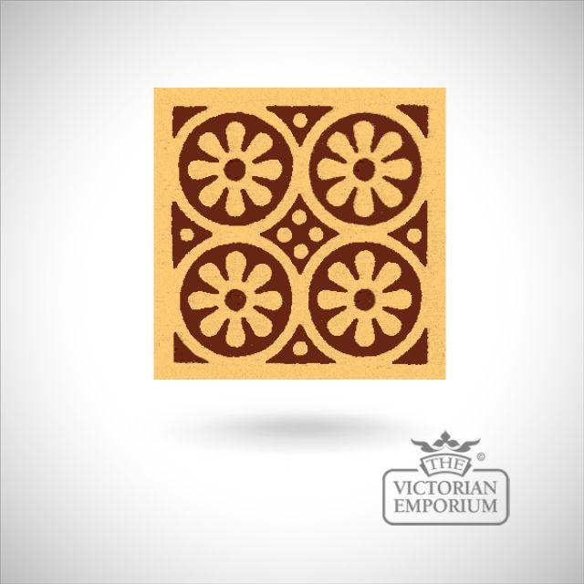 """Encaustic 4.25"""" square tile - design 5"""