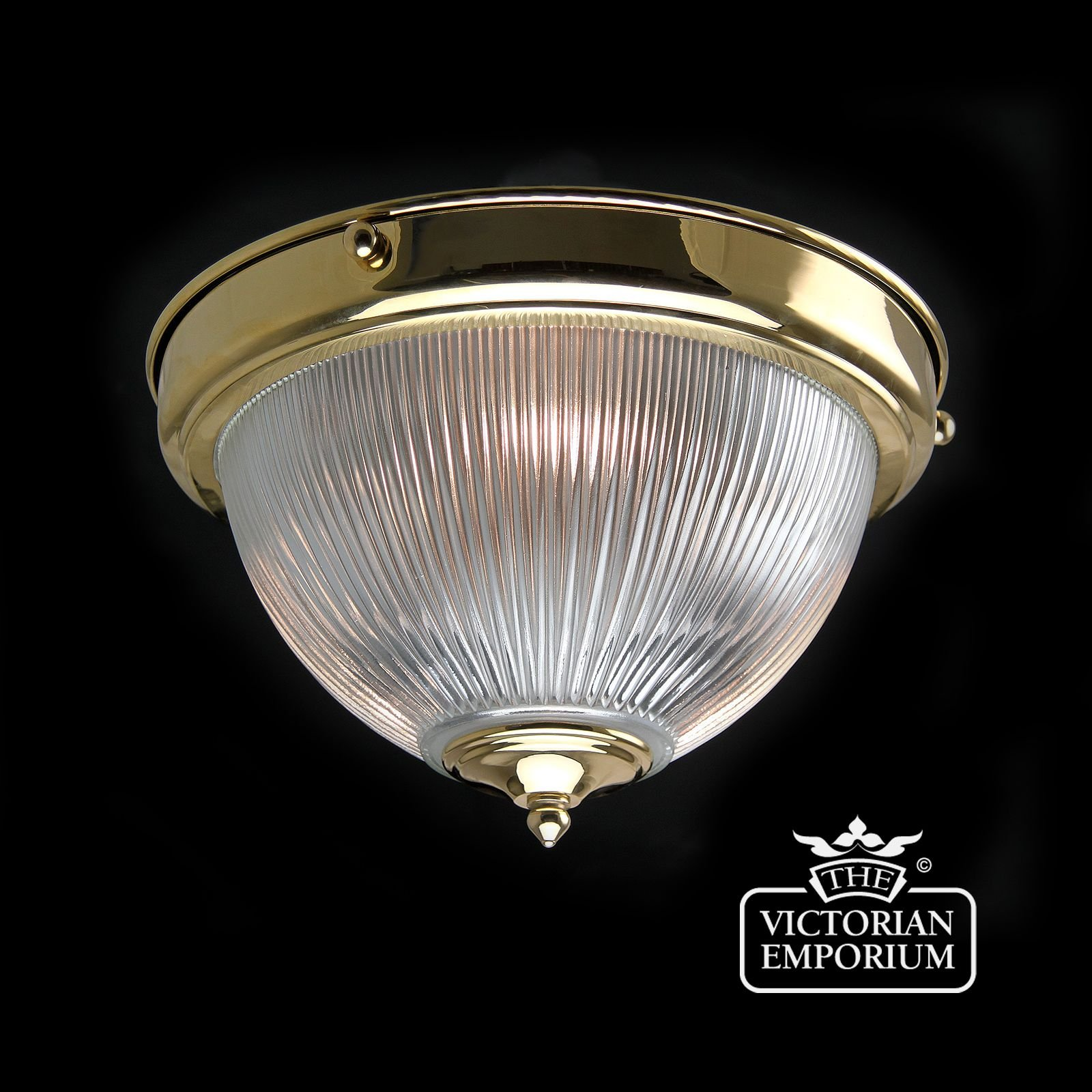 Reeded Glass Flush Mount Ceiling Light In Polished Brass