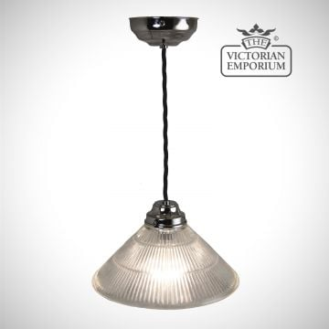 Reeded glass cone shaped ceiling light in chrome