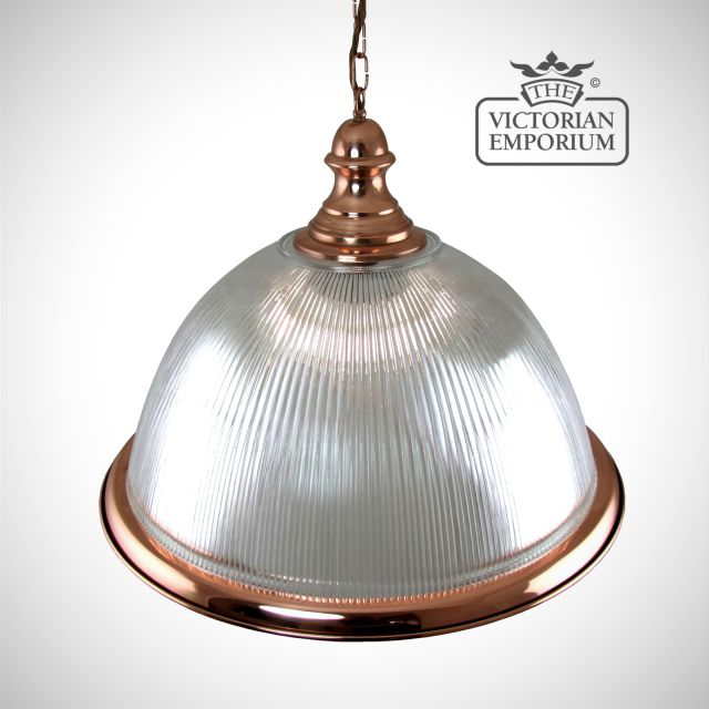 Large dome ceiling light in copper with decorative pendant and copper edging