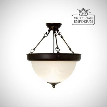 Semi flush dome ceiling uplight in antique bronze