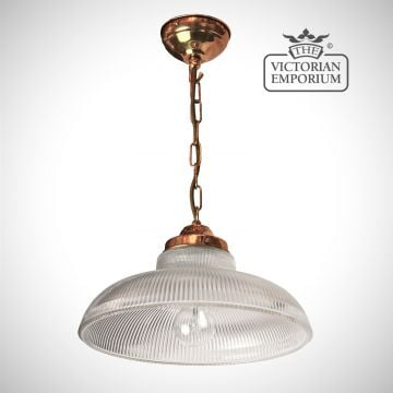 Railroad pendant with polished copper metalwork
