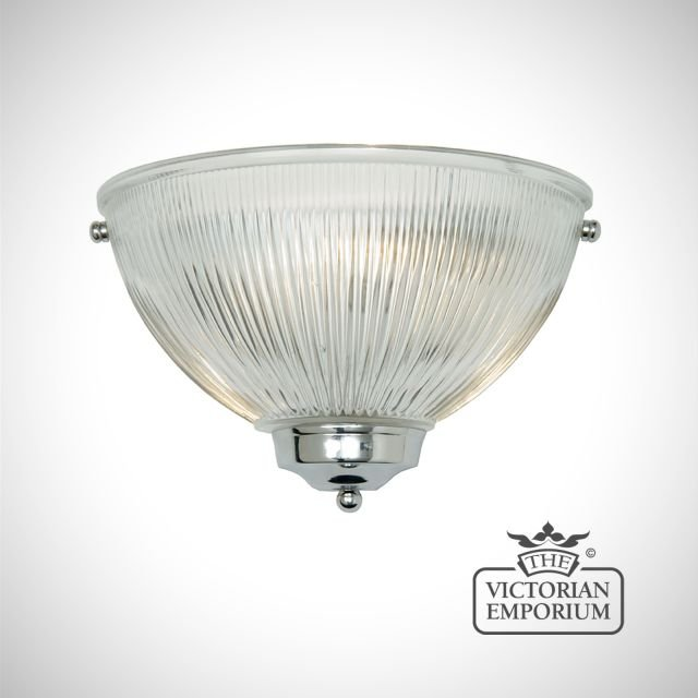 Classic dome wall light with reeded glass