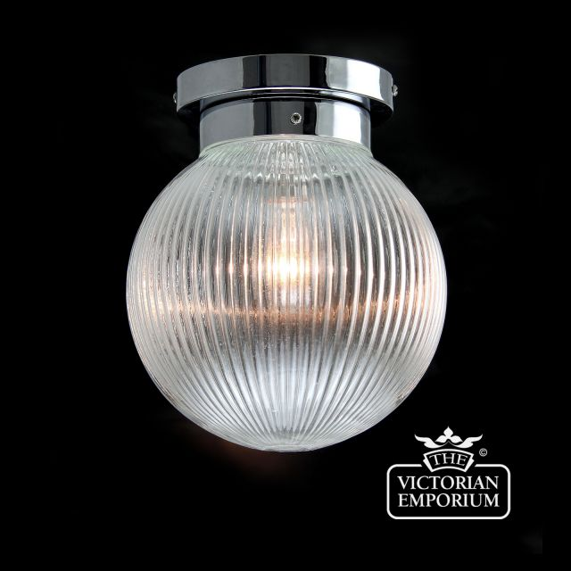 Reeded glass globe flush mount ceiling light in with chrome metalwork