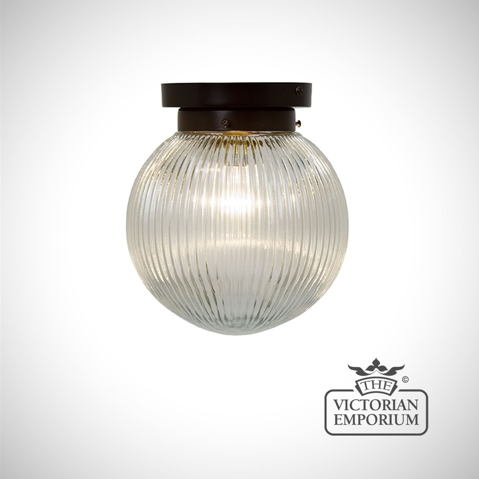 Reeded Glass Globe Flush Mount Ceiling Light In With Antique Bronze Metalwork