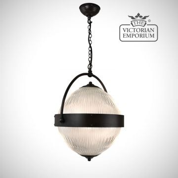 Reeded glass globe ceiling light with antique bronze central band