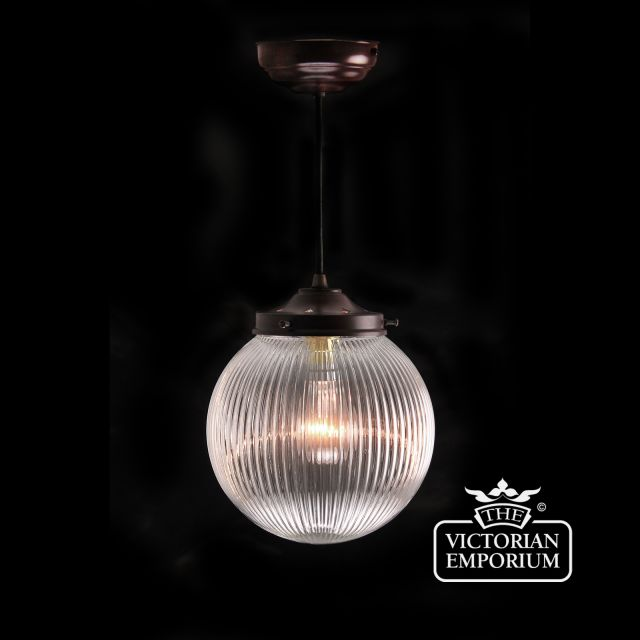 Reeded glass globe ceiling light with antique bronze metalwork