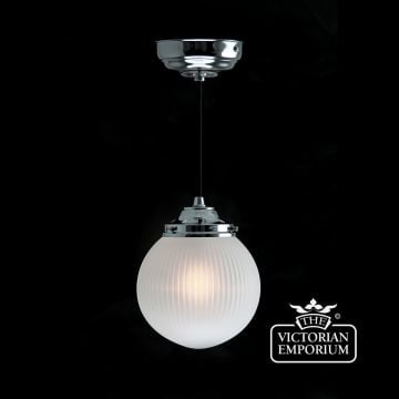 Reeded glass globe ceiling light with chrome metalwork