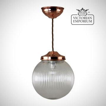 Reeded glass globe ceiling light with polished copper metalwork