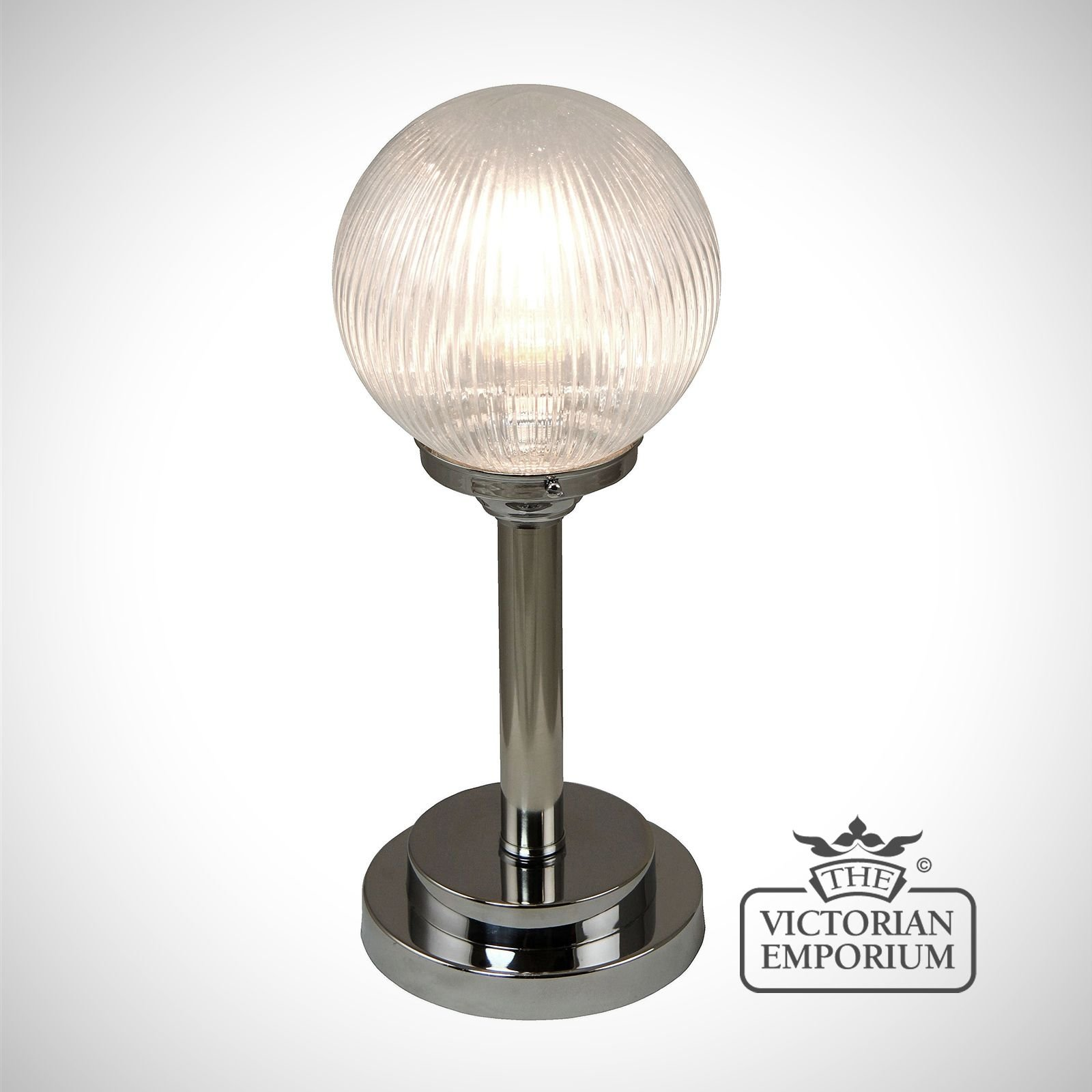 Traditional Silver Haematite Gate Post Lantern Or Driveway: Reeded Glass Globe Table Lamp With Chrome Metalwork