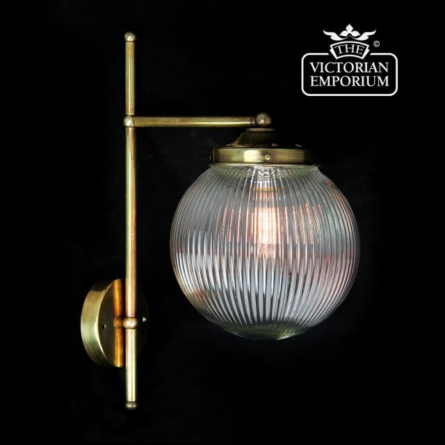 T bracket single globe wall light with reeded glass