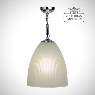 Half oval reeded etched glass pendant with chrome metalwork