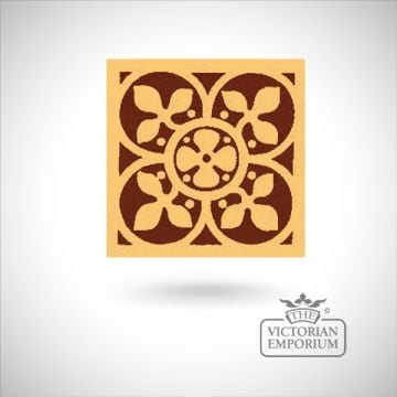 "Encaustic 4.25"" square tile - design 8"