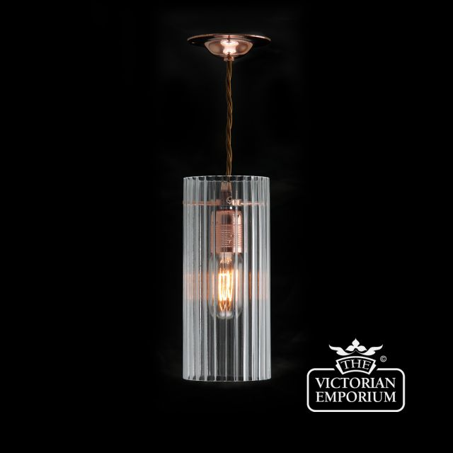 Cylindrical reeded clear glass pendant with polished copper metalwork