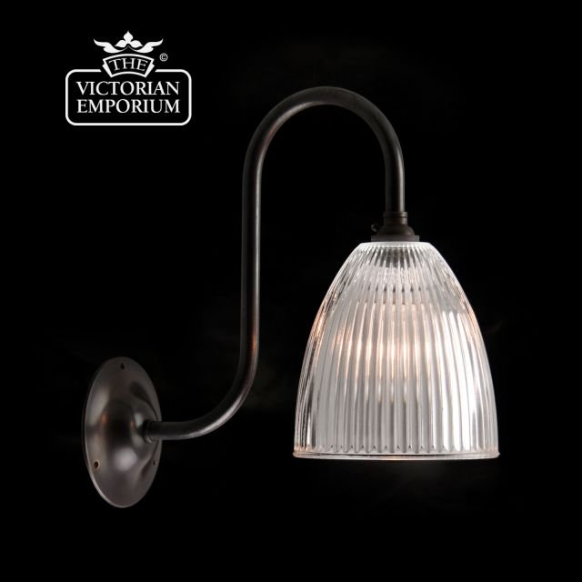 Oval reeded glass wall light