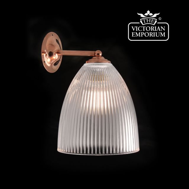 Oval reeded glass wall light with straight arm