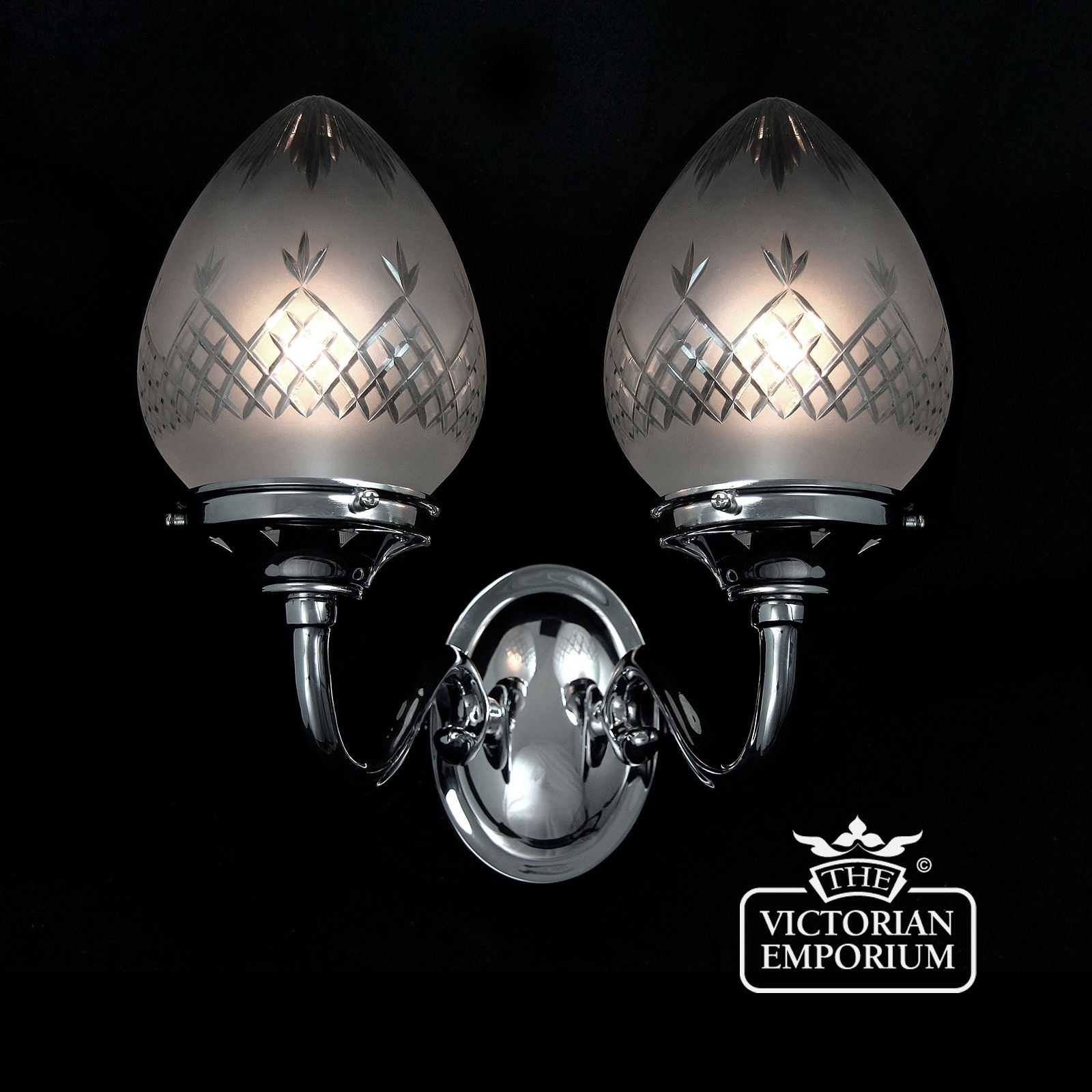 Chrome Internal Wall Lights : Pineapple cut glass double wall light with chrome metalwork