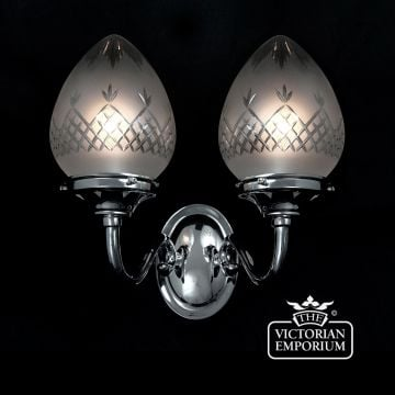 Pineapple cut glass double wall light with chrome metalwork