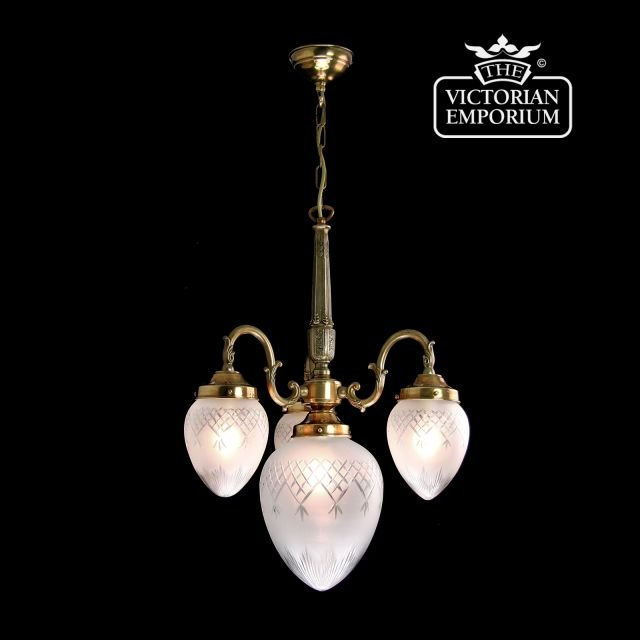Pineapple cut glass four shade chandelier