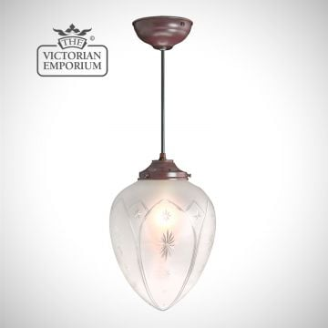 Star Cut Glass Ceiling Pendant - featuring hand blown, acorn shaped etched shade in a traditional antique bronze finish