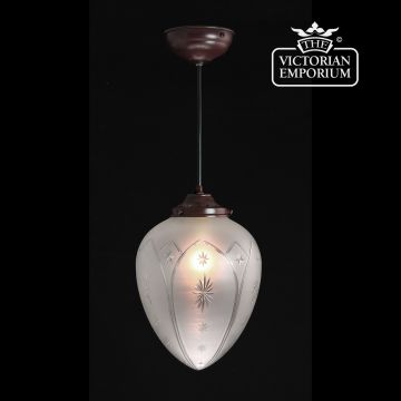 Star cut glass ceiling pendant