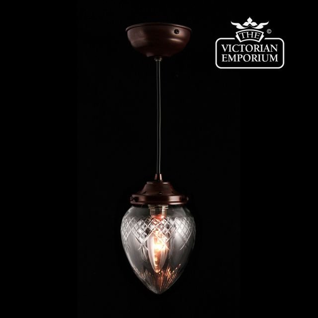Pineapple clear cut glass ceiling pendant