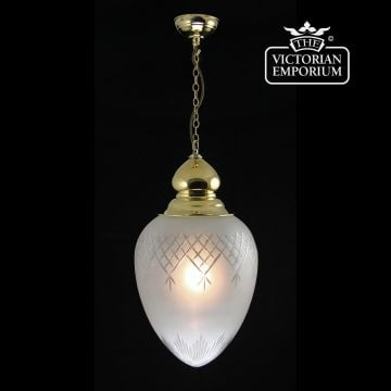 Large pineapple etched cut glass ceiling pendant with decorative finial