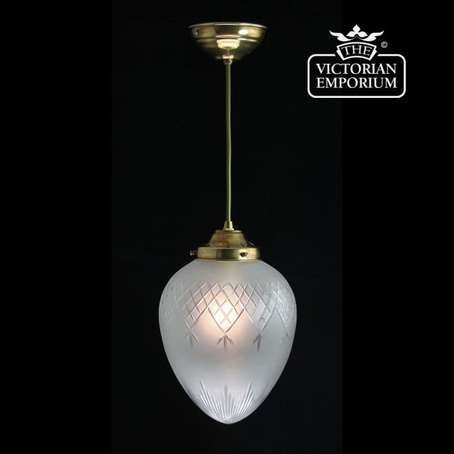Pineapple etched cut glass ceiling pendant