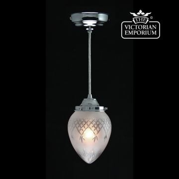 Pineapple with chrome etched cut glass ceiling pendant
