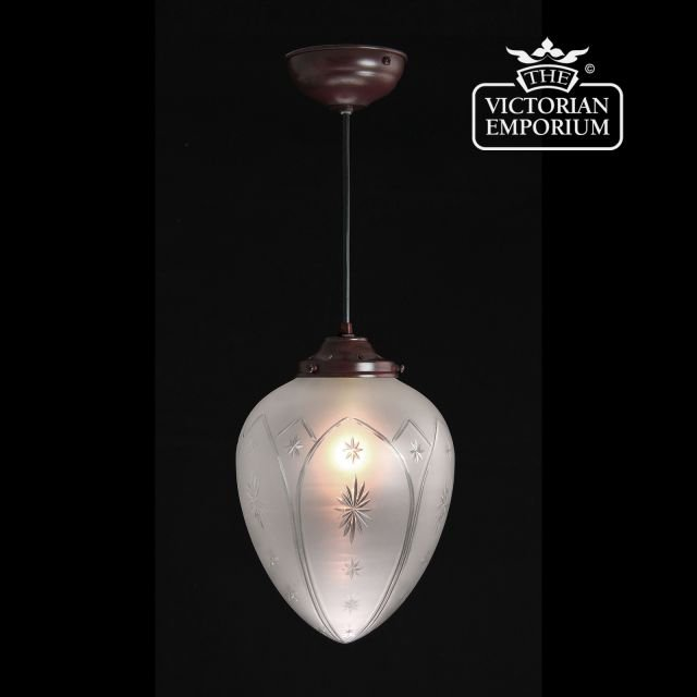 Star etched cut glass ceiling pendant