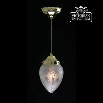 Star etched cut glass ceiling pendant with brass metalwork