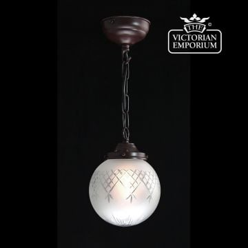 Pineapple etched cut glass round ceiling pendant