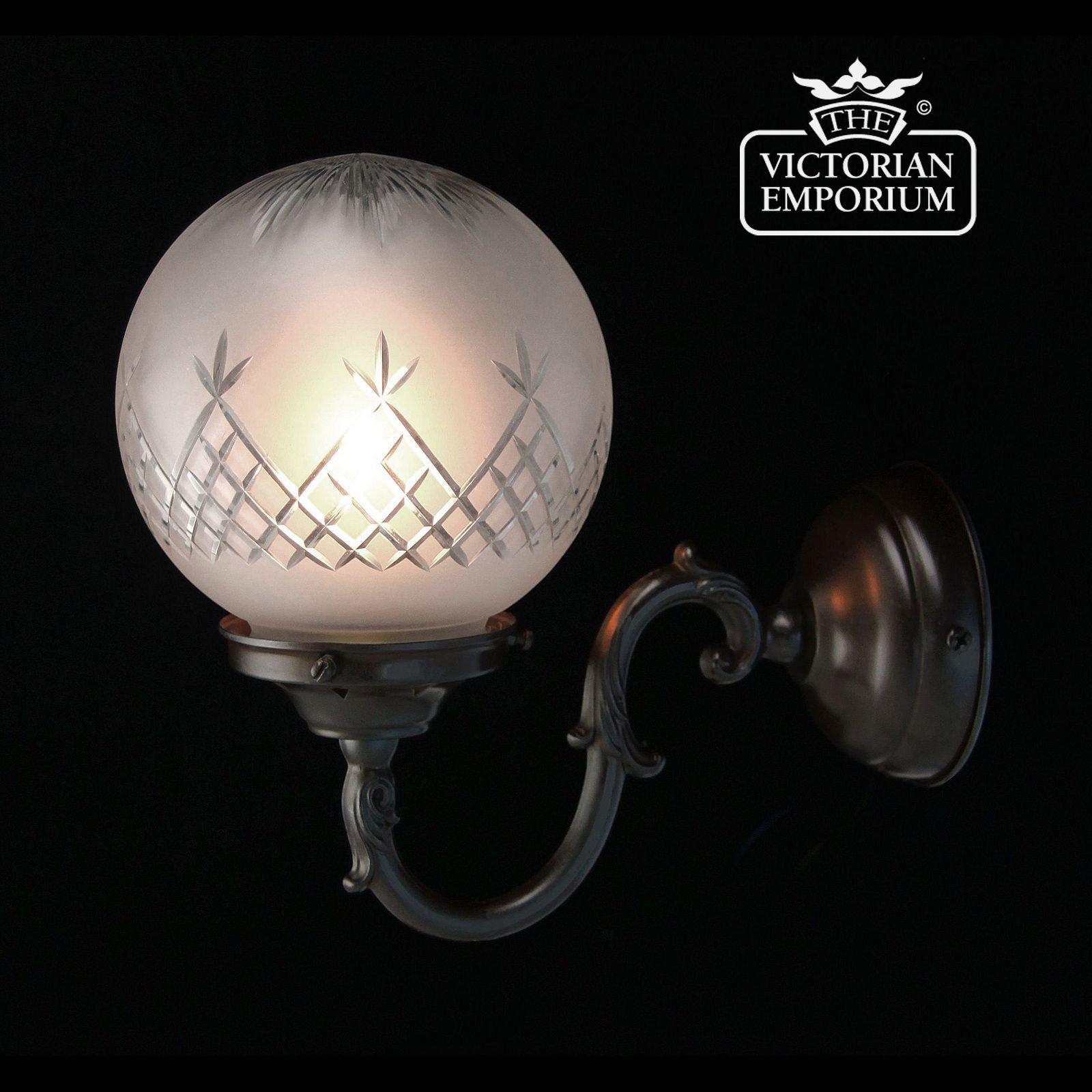 Bronze Glass Wall Lights : Pineapple cut glass wall light with antique bronze metalwork