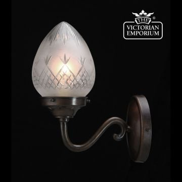 Pineapple etched cut glass wall light