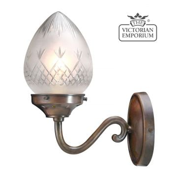 A quintessential Victorian wall light - featuring hand blown, pineapple etched cut glass shade in a traditional antique bronze finish